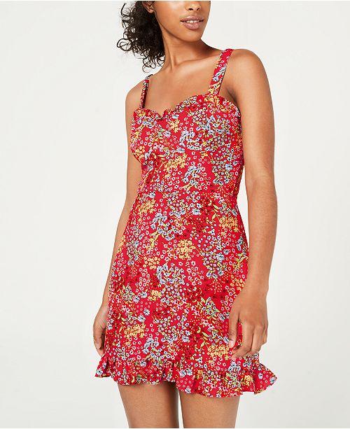 B Darlin Juniors' Floral-Print Ruffled Dress