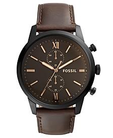 Men's Chronograph Townsman Brown Leather Strap Watch 48mm
