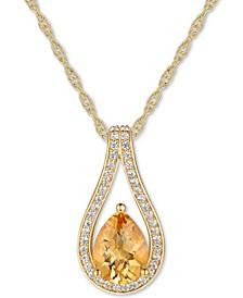 "Citrine (1 ct. t.w.) & Diamond (1/6 ct. t.w.) Teardrop 18"" Pendant Necklace in 14k Gold"