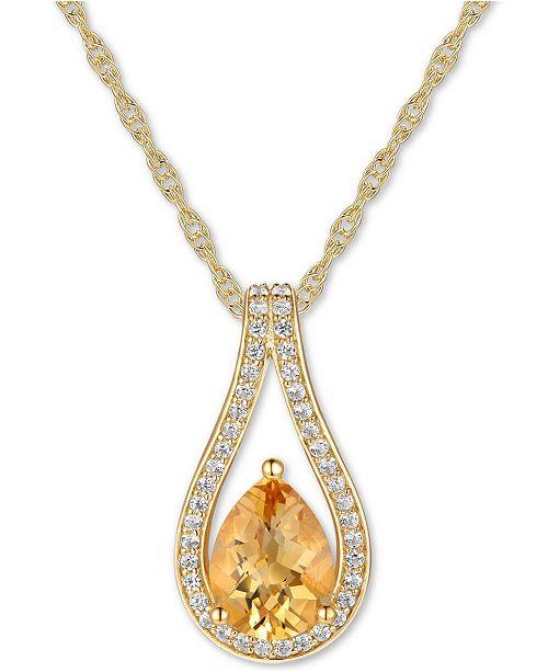 """Macy's Citrine (1 ct. t.w.) & Diamond (1/6 ct. t.w.) Teardrop 18"""" Pendant Necklace in 14k Gold"""