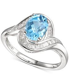 Blue Topaz (1-3/8 ct. t.w.) & Diamond (1/4 ct. t.w.) Swirl Ring in 14k White Gold