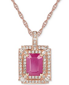 "Certified Ruby (1 ct. t.w.) & Diamond (1/3 ct. t.w.) 18"" Pendant Necklace in 14k Rose Gold"