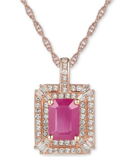 "Macy's Certified Ruby (1 ct. t.w.) & Diamond (1/3 ct. t.w.) 18"" Pendant Necklace in 14k Rose Gold"
