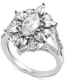 Swarovski Cubic Zirconia Marquise-Cut Cluster Statement Ring in Sterling Silver