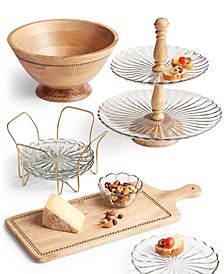 Wood and Glass Serveware Collection, Created For Macy's