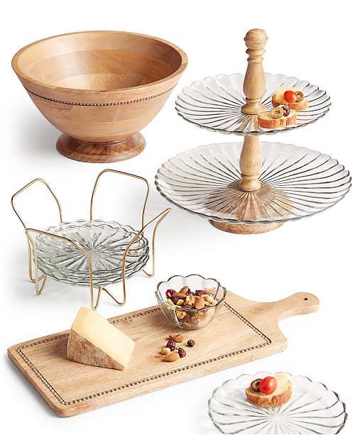 Martha Stewart Collection Wood and Glass Serveware Collection, Created For Macy's