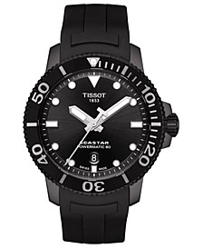 Men's Swiss Automatic SeaStar Black Rubber Strap Diver Watch 43mm