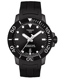 Tissot Men's Swiss Automatic SeaStar Black Rubber Strap Diver Watch 43mm