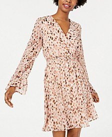 Juniors' Animal-Print Surplice Dress