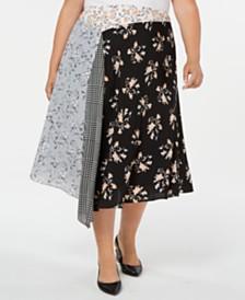 Calvin Klein Plus Size Mixed-Print Asymmetrical Midi Skirt