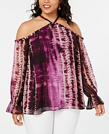 INC Plus Size Tie-Dye Cold Shoulder Top, Created for Macy's