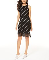 bac6c457de75c I.N.C. Diagonal-Stripe Fringe Sweater Dress, Created for Macy's