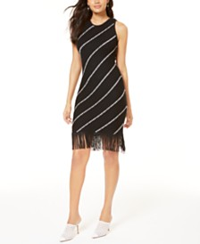 I.N.C. Diagonal-Stripe Fringe Sweater Dress, Created for Macy's