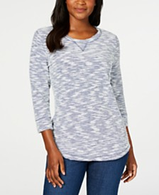 Karen Scott Petite Space-Dye 3/4-Sleeve Top, Created for Macy's