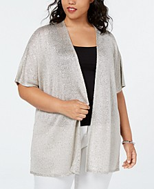 INC Plus Size Metallic Sequined Cardigan, Created for Macy's