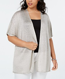 I.N.C. Plus Size Metallic Sequined Cardigan, Created for Macy's