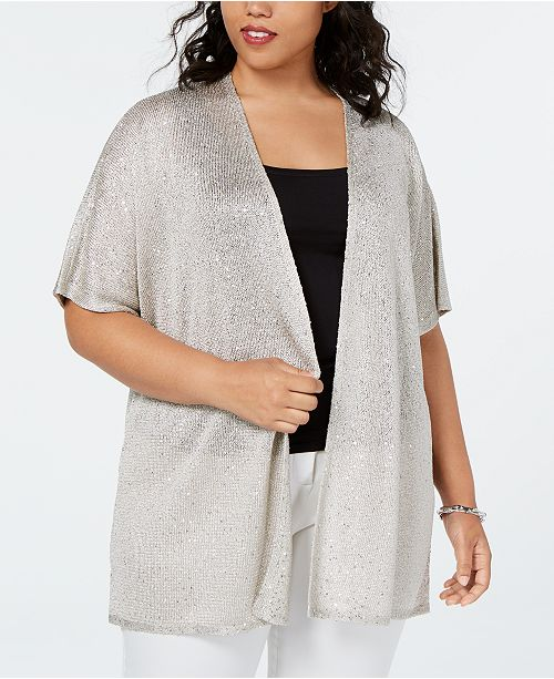 INC International Concepts I.N.C. Plus Size Metallic Sequined Cardigan, Created for Macy's