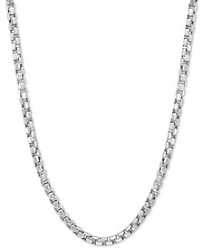 "EFFY® Rounded Box Link 24"" Chain Necklace in Sterling Silver"