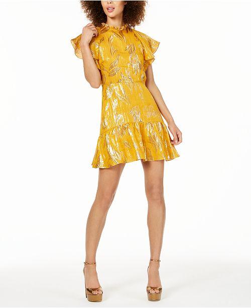 Rachel Zoe Sorenne Flounce-Trim Metallic Dress