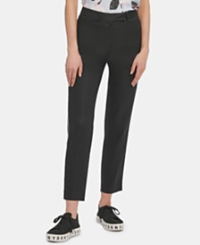 DKNY Contrast-Piping Straight-Leg Pants