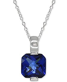 """Giani Bernini Sterling Silver Cubic Zirconia 18"""" Pendant Necklace, Created for Macy's"""