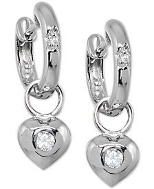 Giani Bernini Cubic Zirconia Puff Heart Hoop Earrings in Sterling Silver, Created for Macy's