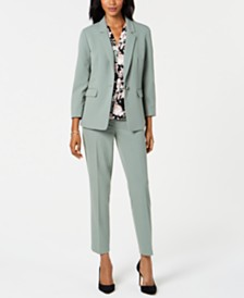 Nine West Single-Button Jacket, Skinny Pants & Printed Blouse