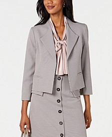 Wide-Lapel Mini Houndstooth Jacket