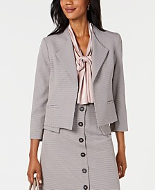 Nine West Wide-Lapel Mini Houndstooth Jacket