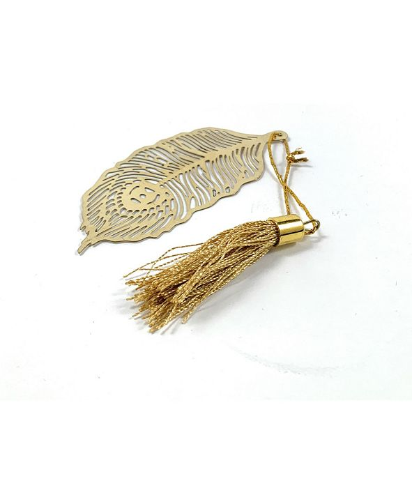 Vibhsa Feather Bookmark with Tassel Golden Finish Set of 4