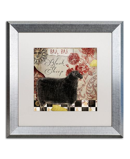 "Trademark Global Color Bakery 'Baa Baa Black Sheep' Matted Framed Art - 16"" x 16"""
