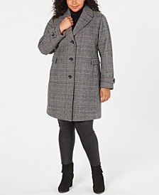Plus Size Single-Breasted Plaid Coat
