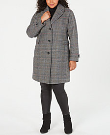 Vince Camuto Plus Size Single-Breasted Plaid Coat