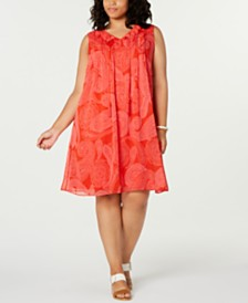 Tommy Hilfiger Plus Size Paisley-Print Tassel-Tie Dress, Created for Macy's