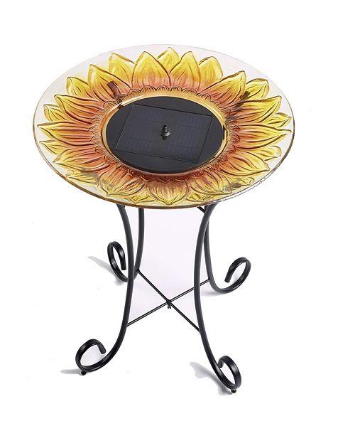 Smart Solar Sunflower Glass Solar Birdbath
