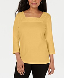 Karen Scott Crochet Square-Neck Top, Created for Macy's