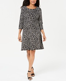 Karen Scott Nouvelle Floral Swing Dress, Created for Macy's