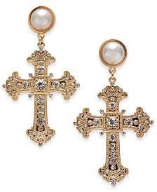 Thalia Sodi Gold-Tone Crystal & Imitation Pearl Cross Drop Earrings, Created for Macy's