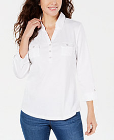 Karen Scott Cotton Johnny-Collar Utility Shirt, Created for Macy's