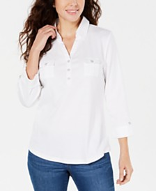 Karen Scott Petite 3/4-Sleeve Polo Shirt, Created for Macy's