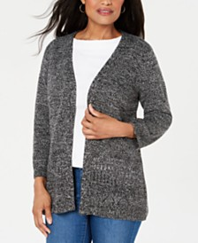 Karen Scott Pointelle Marled Cardigan, Created for Macy's