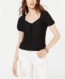 Juniors' Button-Front Eyelet Top, Created for Macy's