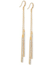GUESS Gold-Tone Double Pavé Bar Linear Drop Earrings