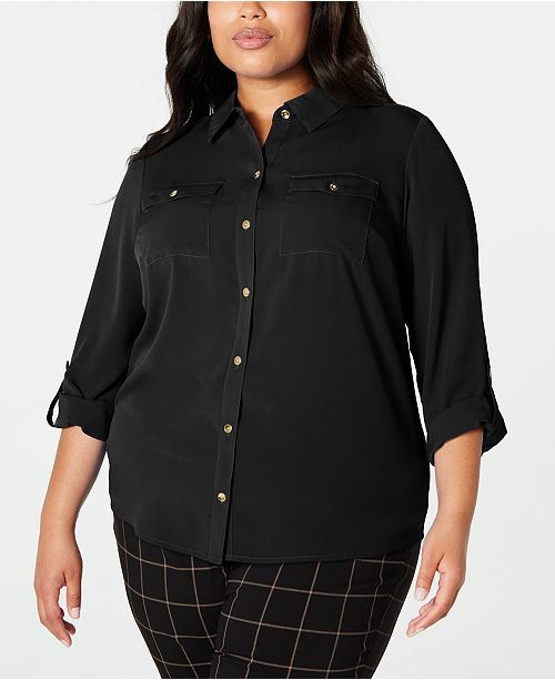 Charter Club Plus Size Button-Front Shirt, Created for Macy's