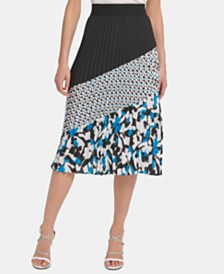 DKNY Pleated Printed Colorblocked Skirt
