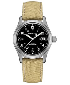 Unisex Swiss Mechanical Khaki Field Khaki Canvas Strap Watch 38mm