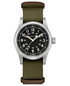 Unisex Swiss Mechanical Khaki Field Green Nato Fabric Strap Watch 38mm