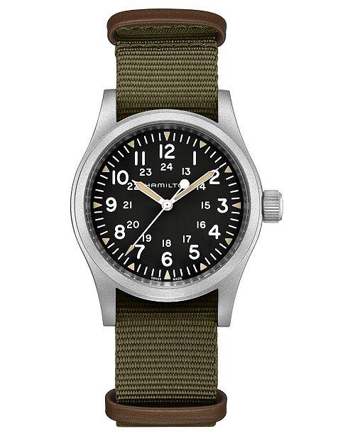 Hamilton Unisex Swiss Mechanical Khaki Field Green Nato Fabric Strap Watch 38mm