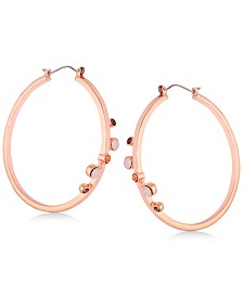 GUESS Rose Gold-Tone Large Crystal Hoop Earrings 2""