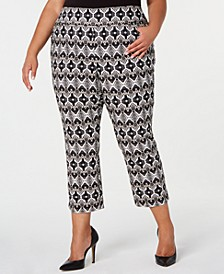 INC Plus Size Printed Cropped Skinny Pants, Created for Macy's